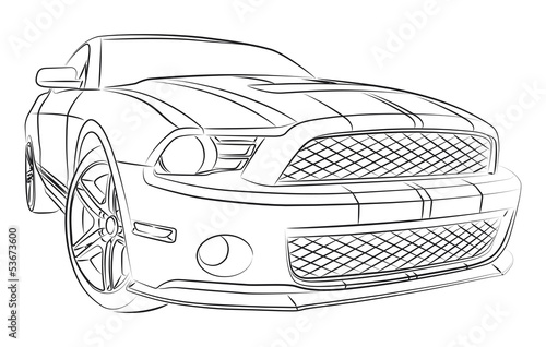 Modern muscle car drawing Plakát