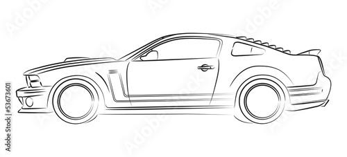 Staande foto Cartoon cars Modern muscle car drawing