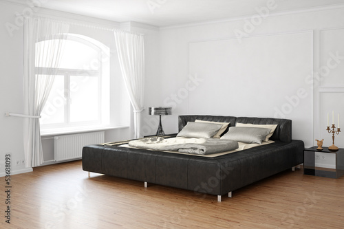 Foto  Sleeping room with bed and leather parts