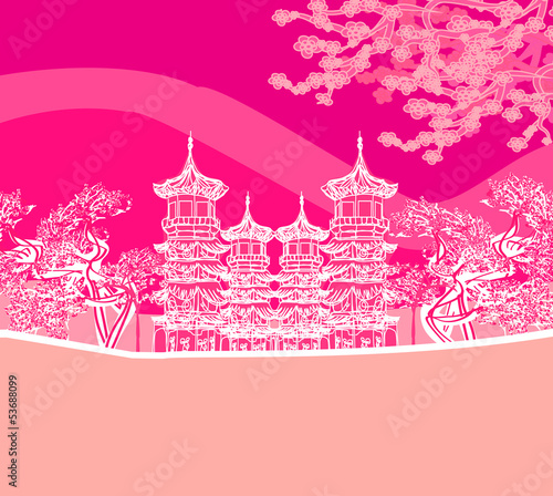 Foto op Plexiglas Roze Buddhist Zen Temple