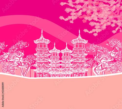 Fotobehang Roze Buddhist Zen Temple