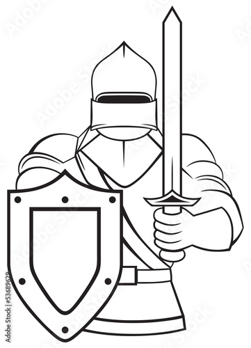 Photo  Medieval knight isolated on white background
