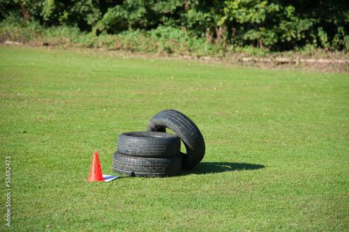 Fotografie, Obraz  3 Tyres for Fitness Bootcamp