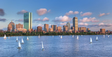 Panoramic View Of TheBoston Skyline Across The Charles River Bas