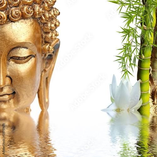 Tuinposter Boeddha Bouddha doré, bambou et fleur blanche de lotus