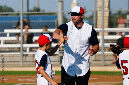 Fotografie, Obraz  Little league baseball boy with coach