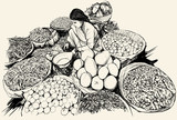 India - woman selling fruit and vegetable in a market - 53704496