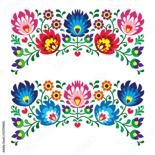 fototapeta na ścianę Polskie wzorce kwiatowy haft ludowy dla karty