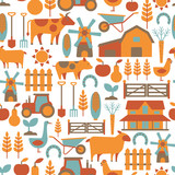 seamless pattern with farm related items