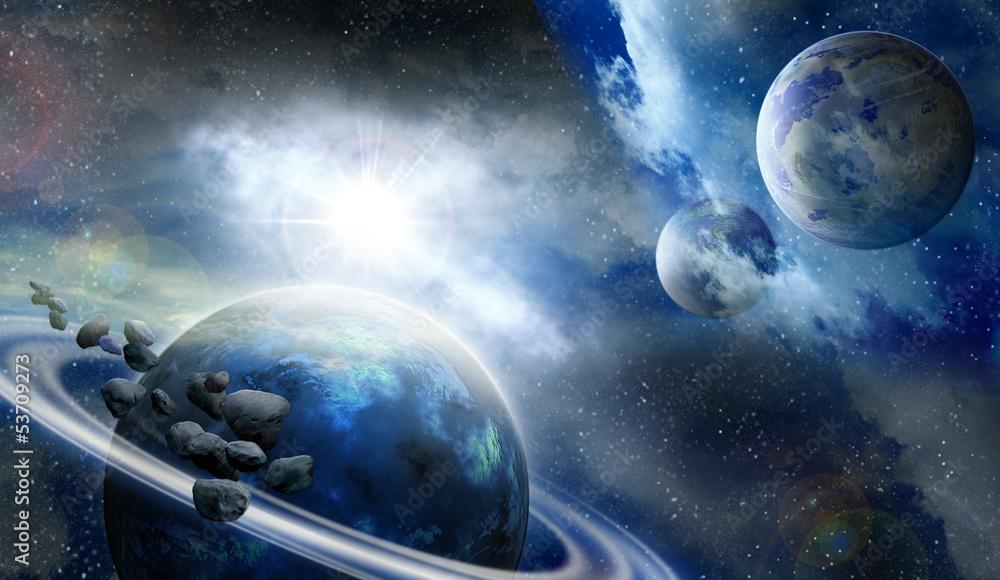 Fototapety, obrazy: Planety i meteoryty w kosmosie