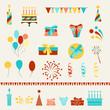 Happy Birthday party icons set.
