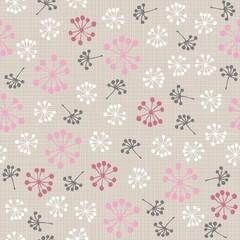 Fototapetakolorowe kwiaty dmuchawce na jasnym tle nieskończony deseń