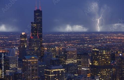 Poster Chicago Skyline Chicago Storm