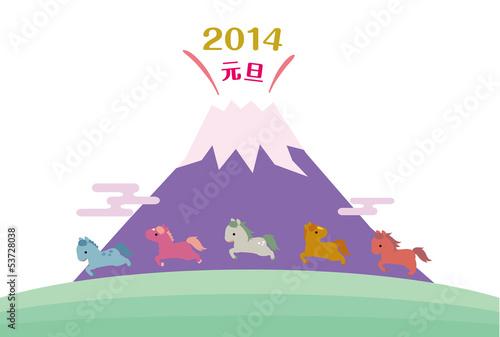 Fototapeta 午年の馬たちと富士山の年賀状 obraz
