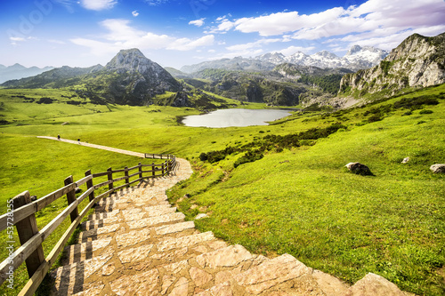 Lake Ercina, lakes of Covadonga, Asturias , Spain Wallpaper Mural