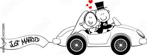 Staande foto Cartoon cars funny just married cartoon