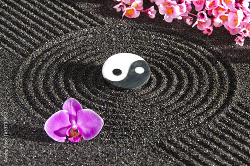 Fotografering  Japanese zen garden with yin and yang