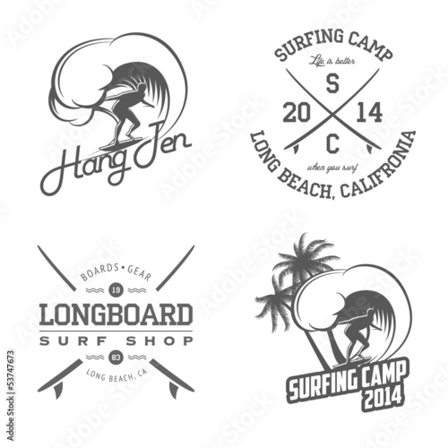 74db93cd15e Set of vintage surfing labels and badges - Buy this stock vector and ...