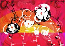 Summer Sunset Flowers Orange R...
