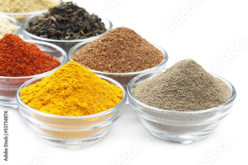 Foto op Plexiglas Kruiden Variety of Raw Authentic Indian Spice Powder