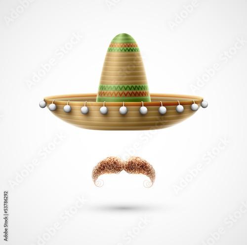 Fotografie, Obraz  Sombrero and mustache