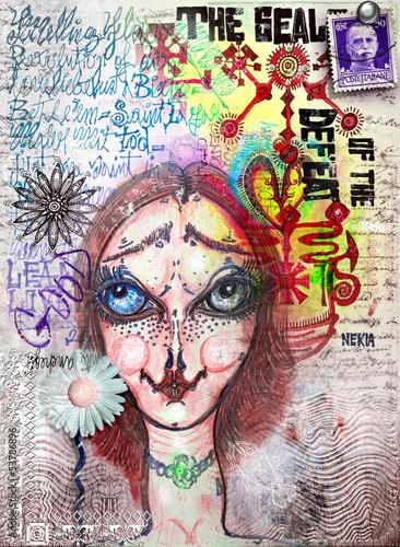 Papiers peints Imagination Street art with pretty girl