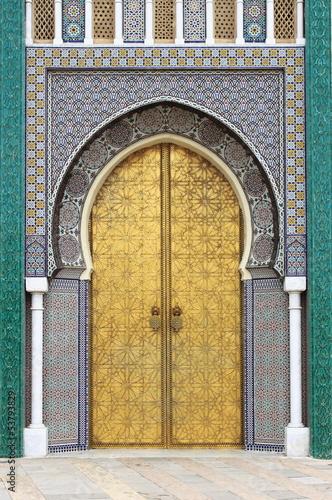 Fototapeta drzwi   golded-drzwi-royal-palace-w-fes-maroko