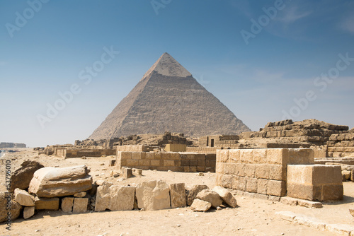 In de dag Egypte Pyramid of Khafre in Great pyramids complex in Giza