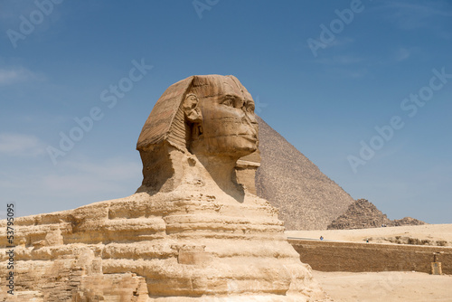 In de dag Egypte Famous ancient statue of Sphinx in Giza, Egypt