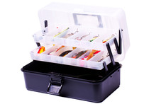 Opened Fishing Box With Lures On A White Background