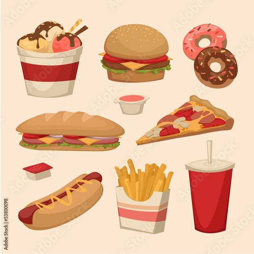 Fast food. Objects set Poster