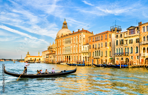 Spoed Fotobehang Gondolas Gondola on the Grand Canal in Venice, Italy