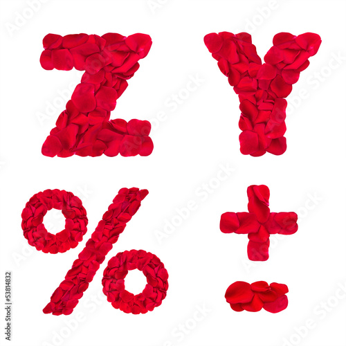 Words Z Y And Symbols Made Of Rose Petals Buy This