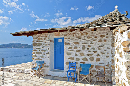 Photo  Traditional chapel at Skiathos island in Greece