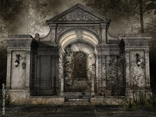 Fototapeta Kaplica na cmentarzu w lesie