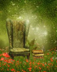 Fototapeta Fantasy Fotel i książki na magicznej łące