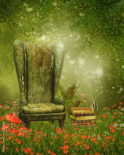 Obraz Fotel i książki na magicznej łące - fototapety do salonu