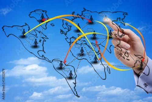 Fotografija  Virtual map of an international social network