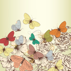 FototapetaVintage design with vector hand drawn flowers and butterflies