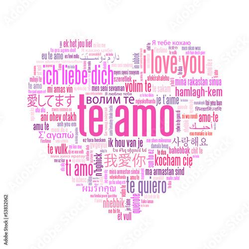Te Amo Amor Te Quiero Tarjeta Rosa Corazón Nube De Palabras