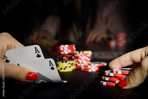 Poker card player gambling in casino плакат