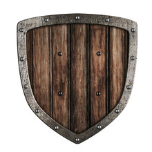 Old Wooden Shield Isolated On ...