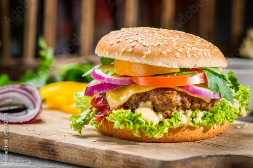 Fototapety, obrazy: Closeup of burger made from vegetables
