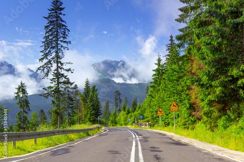 Empty road in Tatra mountains, Poland