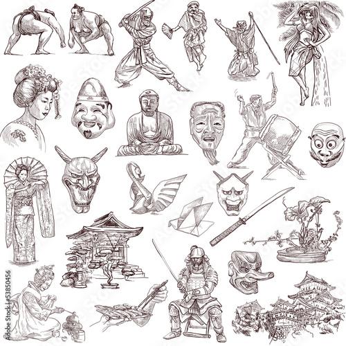 recznie-rysowany-japonski-wzor