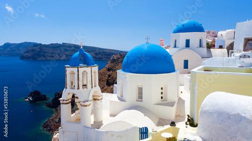 Papiers peints Santorini Blue Dome Churches Oia Santorini