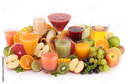 Foto op Canvas Sap fruit juice isolated on white