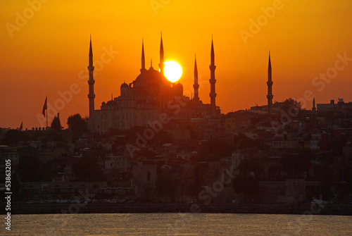 Sunset Sultan Ahmed Mosque or Blue Mosque beside the Bosphorus Poster