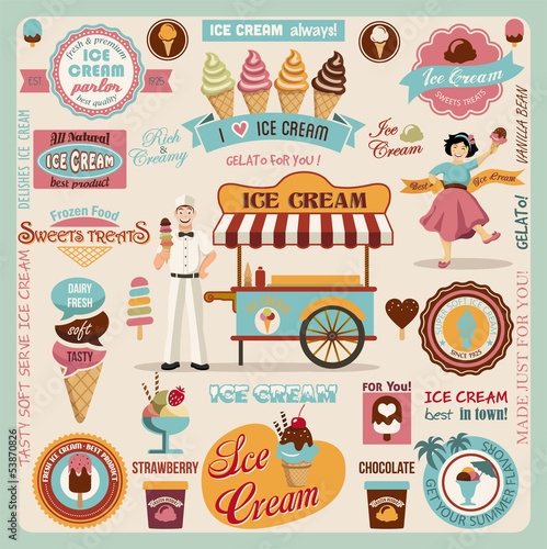 Fotografía  Collection of Ice Cream Design Elements.Vector Illustration