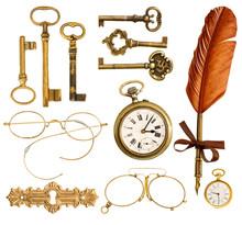 Set Of Vintage Accessories. Antique Keys, Clock, Ink Feather Pen